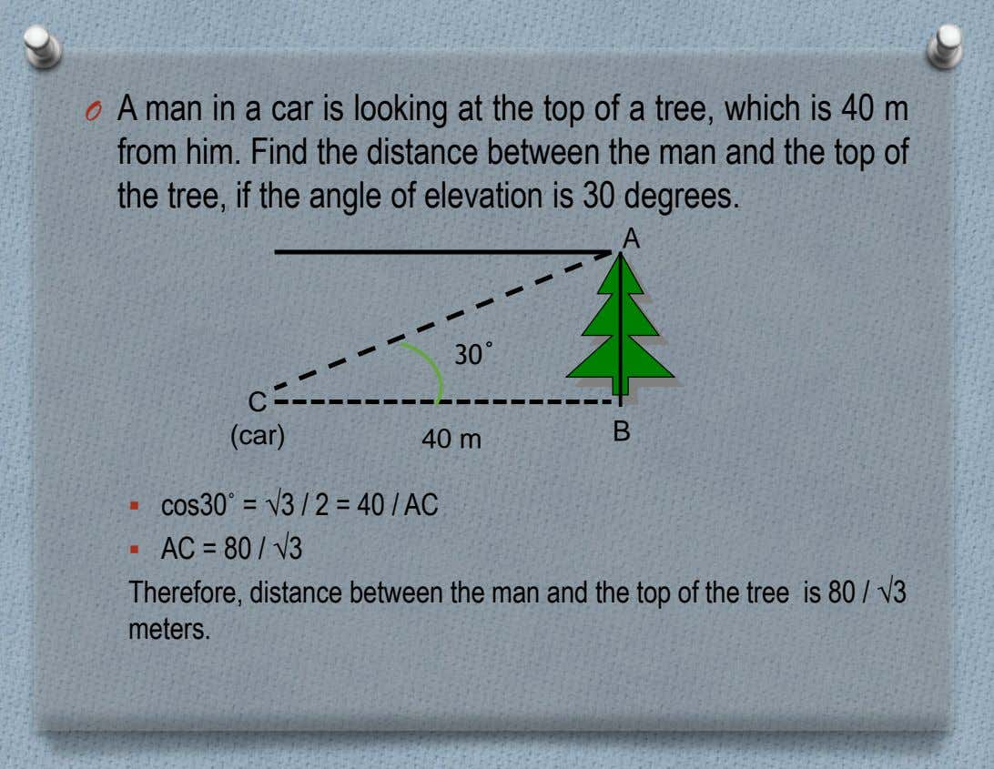 O A man in a car is looking at the top of a tree, which is
