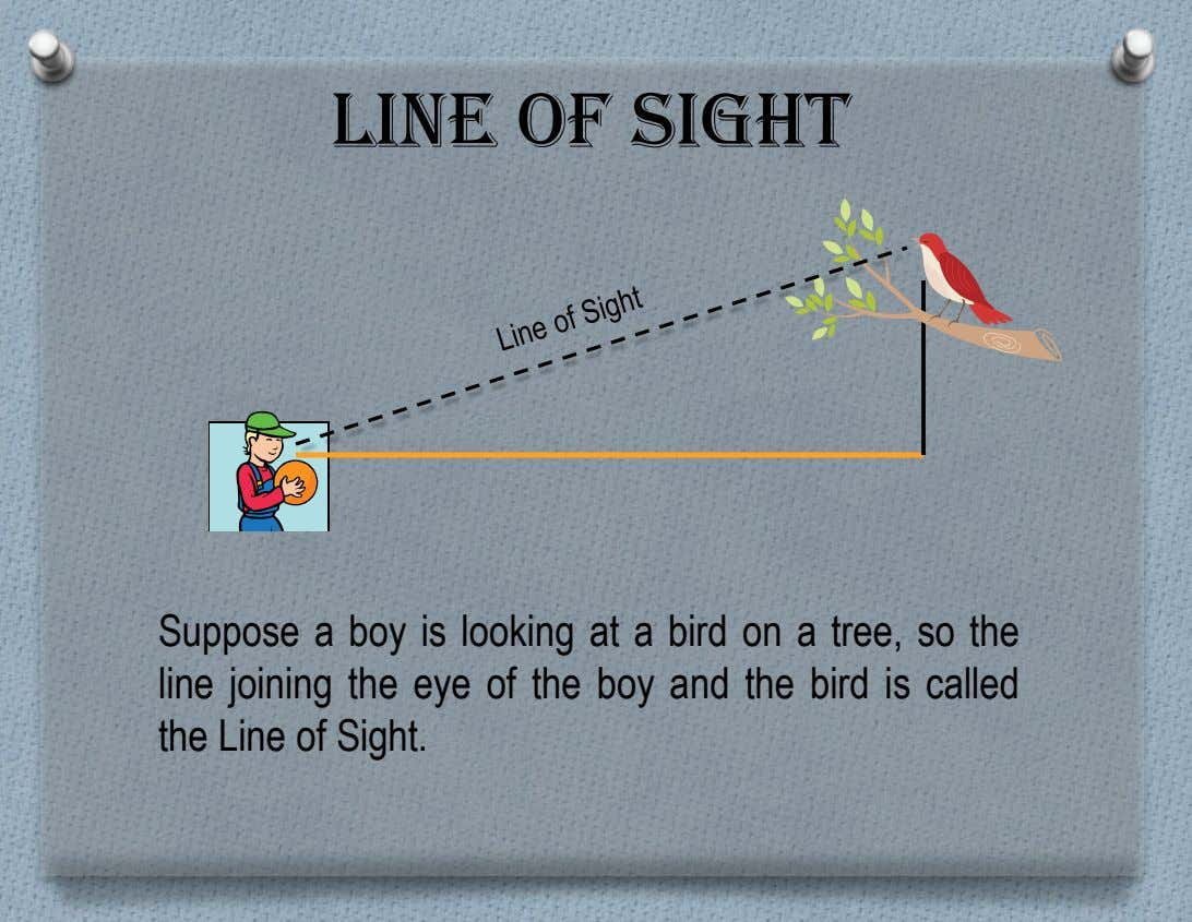 Line of Sight Suppose a boy is looking at a bird on a tree, so the