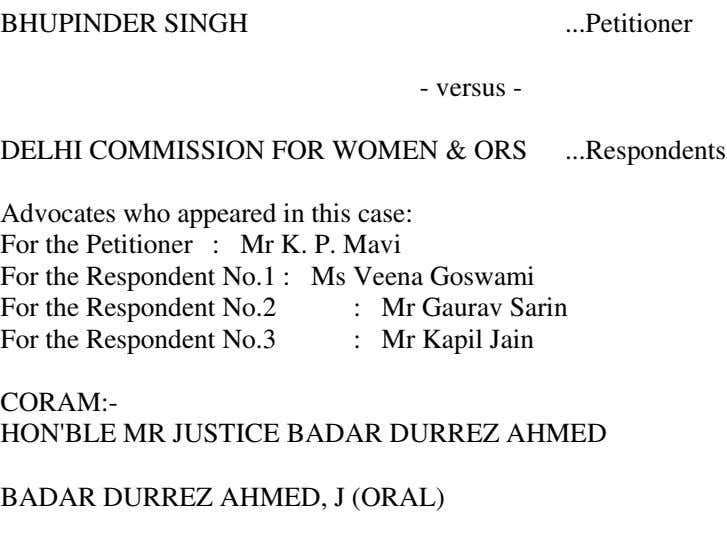 BHUPINDER SINGH Petitioner - versus - DELHI COMMISSION FOR WOMEN & ORS Respondents Advocates who
