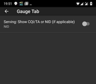 Settings – Gauge Tab Here you can set to show in the Gauges: - CQI/TA