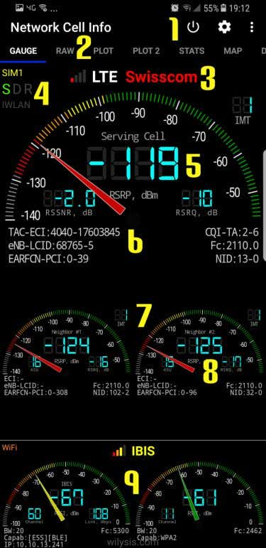 Gauge Tab (1/2) This is the starting tab showing essential network signal strength and information