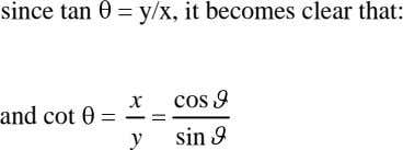 since tan = y/x, it becomes clear that: x cos and cot = y sin