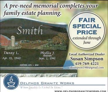 A pre-need memorial completes your family estate planning. fair special price extended through June Local