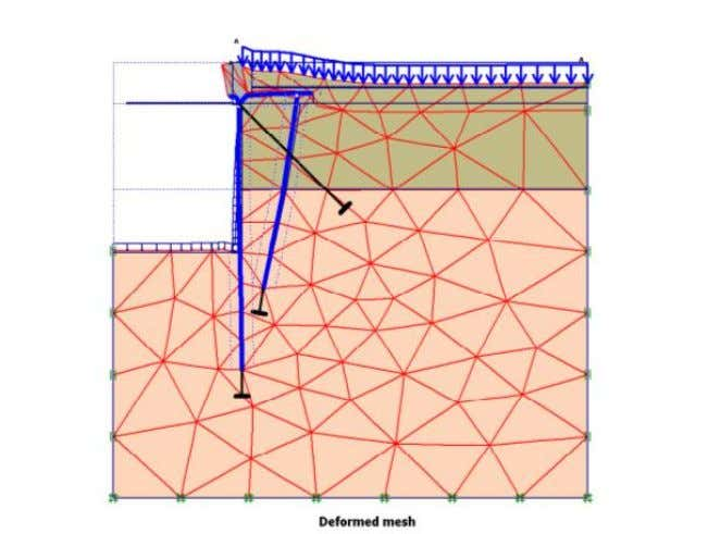 Figure 4.5: Deformed mesh from FEM - PLAXIS The finite element method can also be