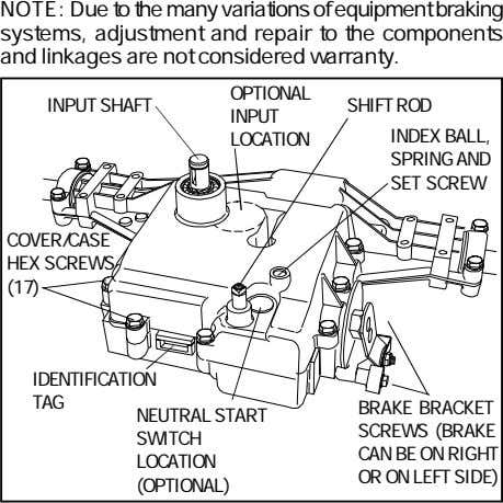 NOTE: Due to the many variations of equipment braking systems, adjustment and repair to the