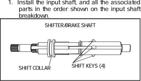 1. Install the input shaft, and all the associated parts in the order shown on