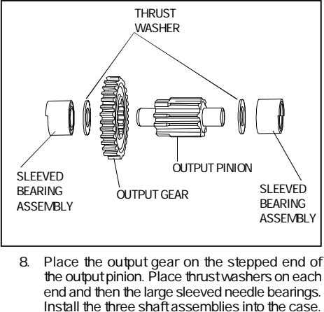 THRUST WASHER OUTPUT PINION SLEEVED SLEEVED BEARING OUTPUT GEAR BEARING ASSEMBLY ASSEMBLY 8. Place the