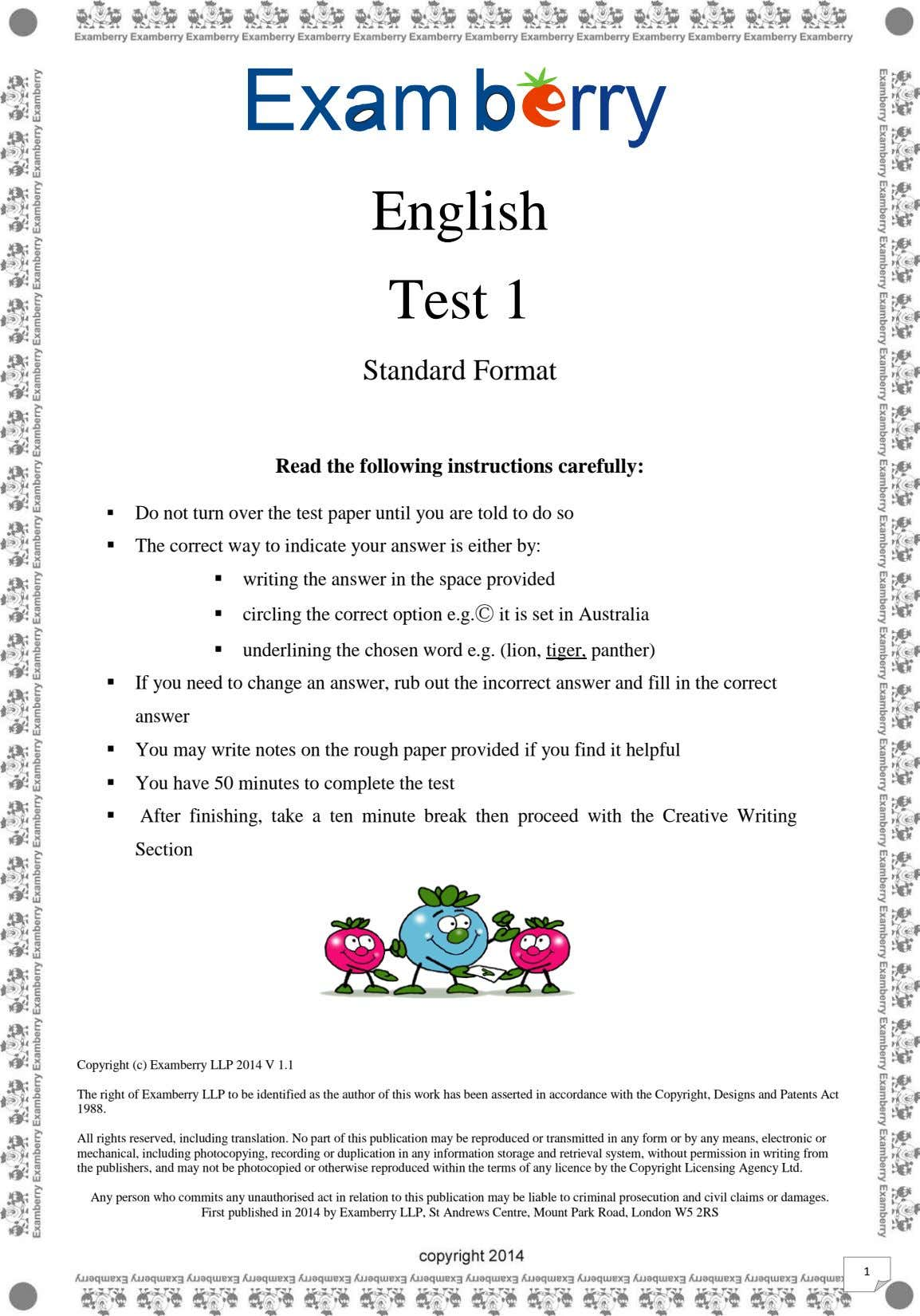 English Test 1 Standard Format Read the following instructions carefully:  Do not turn over
