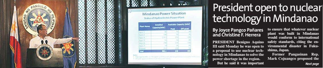 President open to nuclear technology in Mindanao By Joyce Pangco Pañares and Christine F. Herrera
