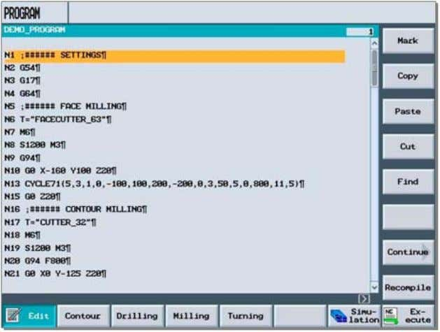rendered DIN/ISO programs (Ex.: mold making pro grams) The following functions are included in the DIN/ISO
