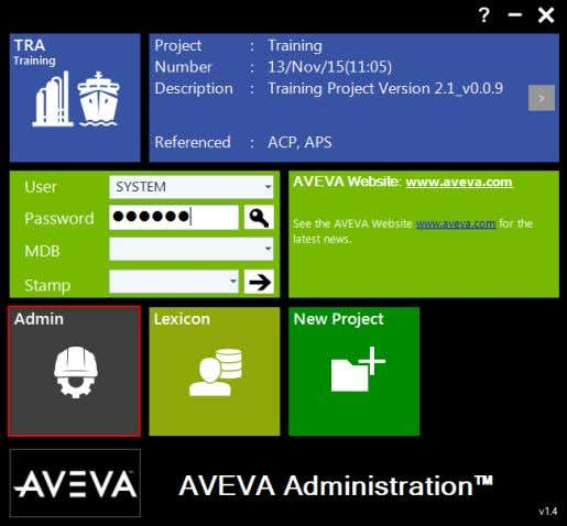 AVEVA Everything3D™ (2.1) Supports Administration TM-1865 Select Utilities > Training Setup … © Copyright 2015.