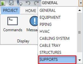 A MDB: A-SUPPORTS Click the Model Tile. Load the Support toolbar by selecting SUPPORTS from the