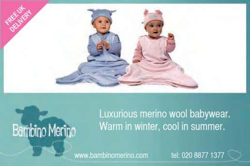 Luxurious merino wool babywear. Warm in winter, cool in summer. www.bambinomerino.com tel: 020 8877 1377