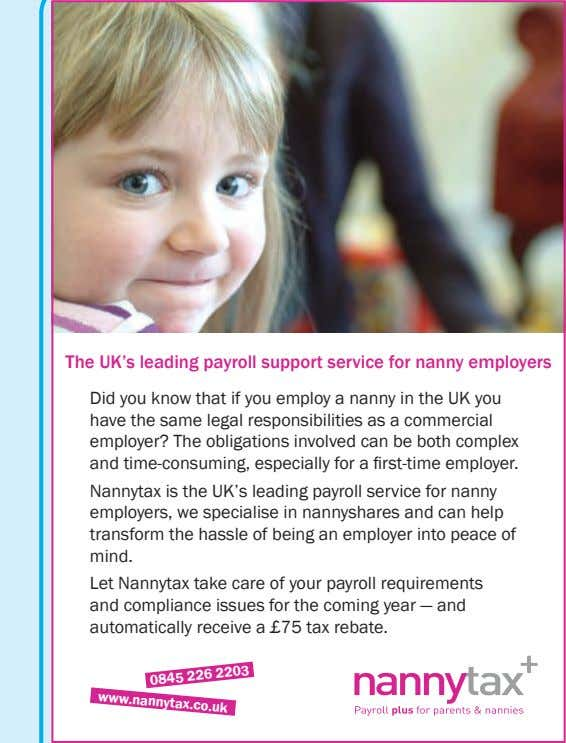 The UK's leading payroll support service for nanny employers Did you know that if you