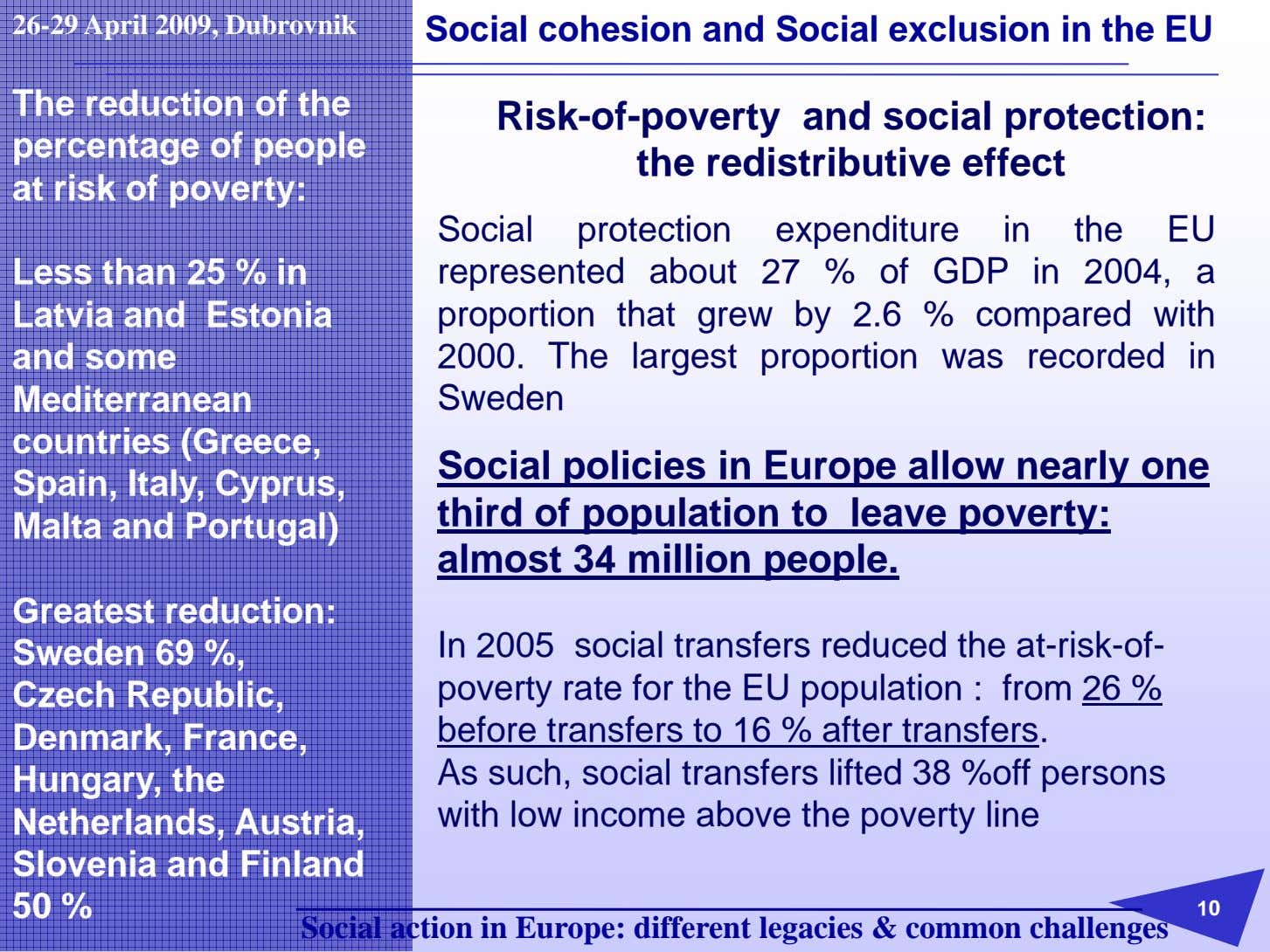 26-29 April 2009, Dubrovnik Social cohesion and Social exclusion in the EU The reduction of