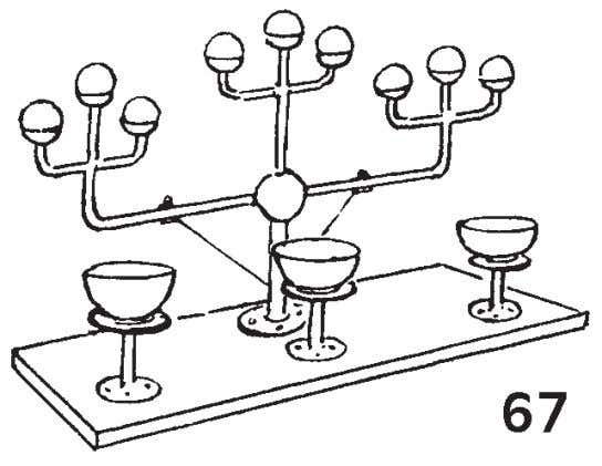with cups to hold the balls (see Fig. 67) and miniature platforms on pillars to raise