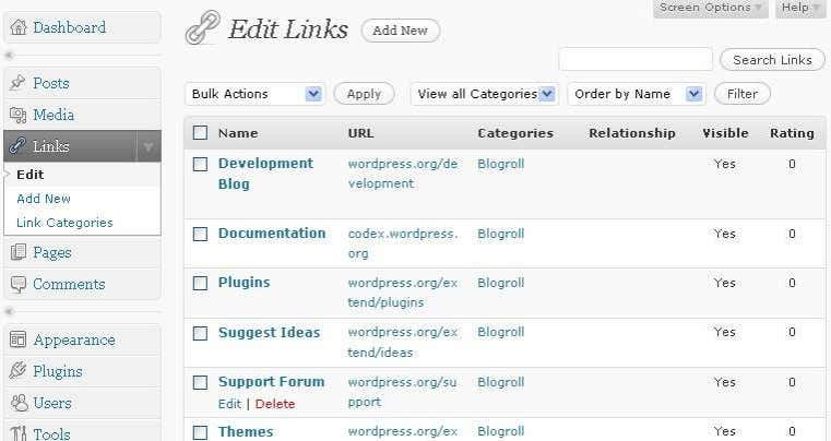 pada blogroll Klik links add new (membuat links baru) Copyright Stenzweb.wordpress.com Email :