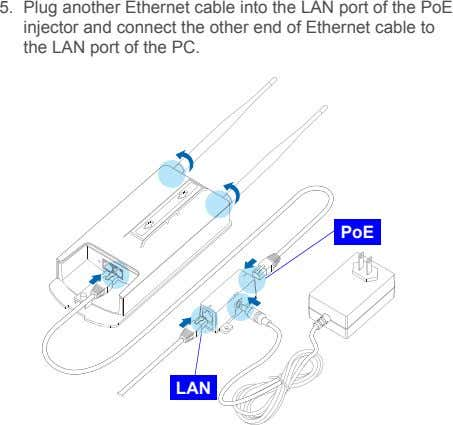5. Plug another Ethernet cable into the LAN port of the PoE injector and connect