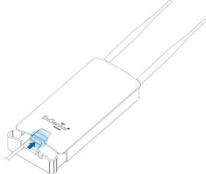 bottom cover securely to protect the RJ-45 con- nectors. Figure 2-3: Installing the RJ-45 Port Cover