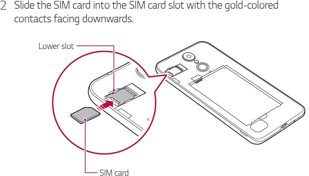 2 Slide the SIM card into the SIM card slot with the gold-colored contacts facing