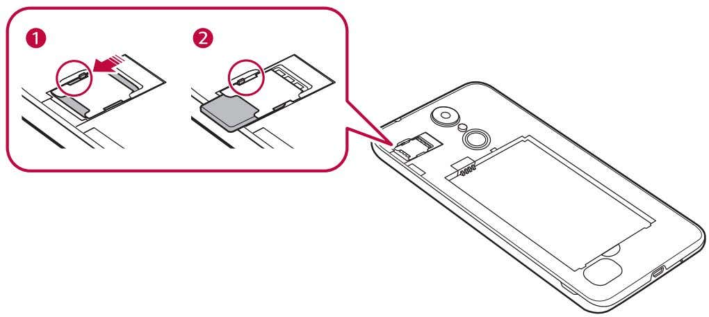 SIM card slot downwards, as indicated in the image below. Precautions when using the SIM card