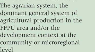 system of agricultural production in the FFPU area and/or the development context at the community or