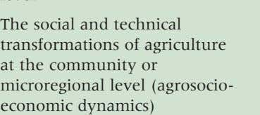 • The social and technical transformations of agriculture at the community or microregional level (agrosocio-