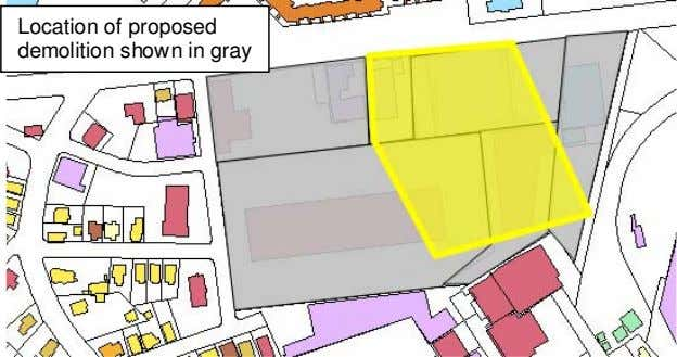 Location of proposed demolition shown in gray