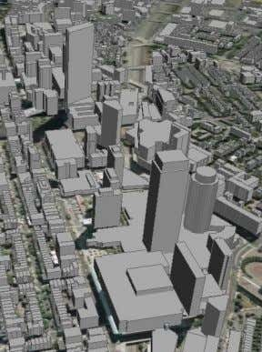 The software needed to view this information is freely Three-dimensional model of Boylston Street viewed with