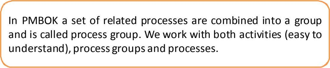 In PMBOK a set of related processes are combined into a group and is called process