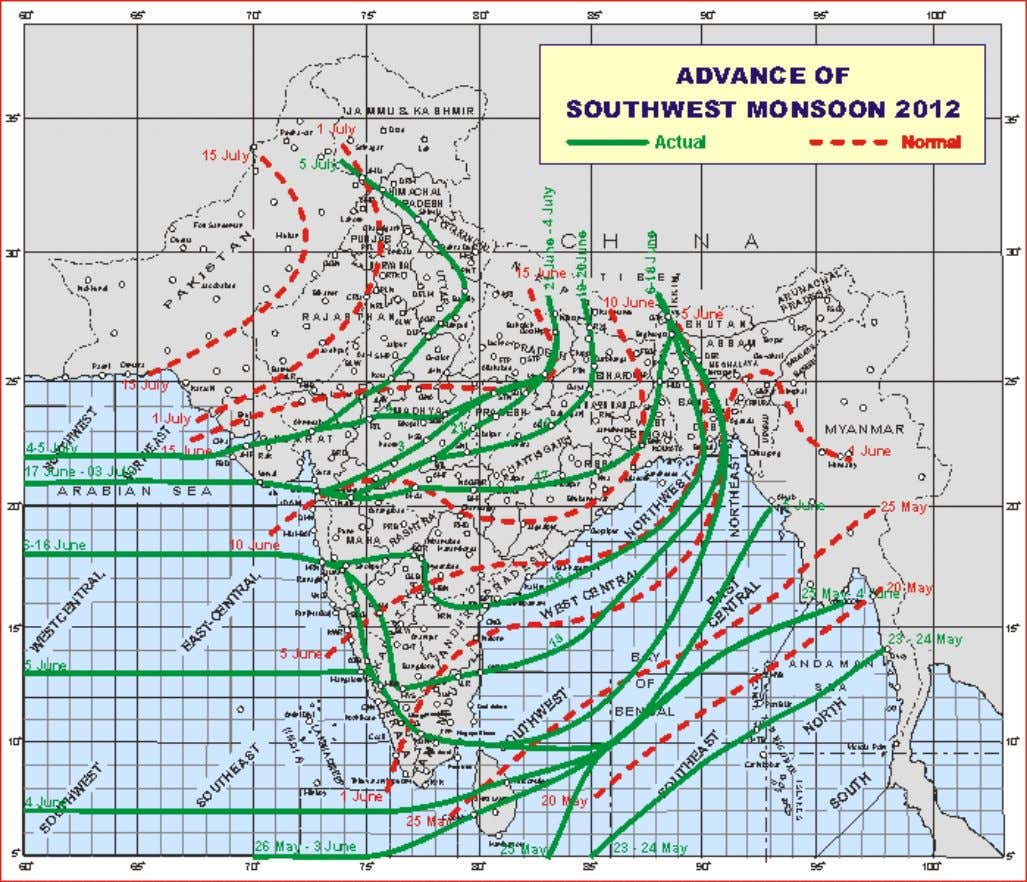 Northern Limit of Monsoon Friday 06 July 2012 ♦ The Northern Limit of Monsoon (NLM) continue