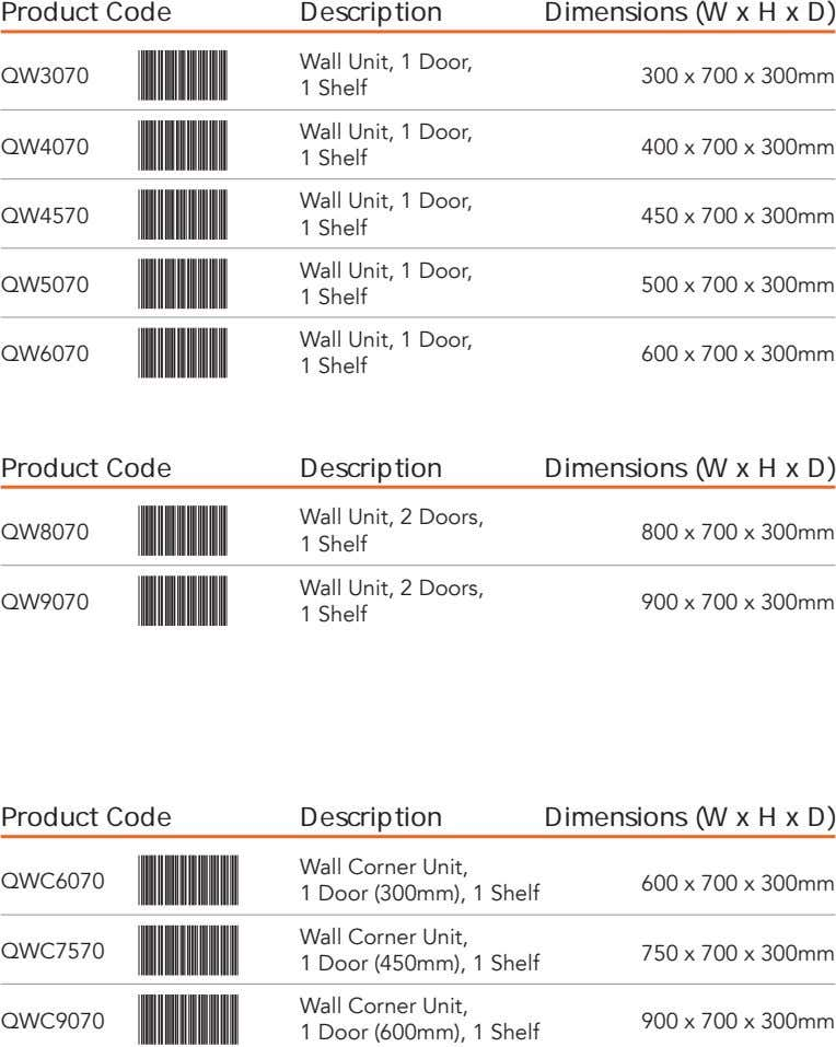 Product Code Description Dimensions (W x H x D) Wall Unit, 1 Door, QW3070 300
