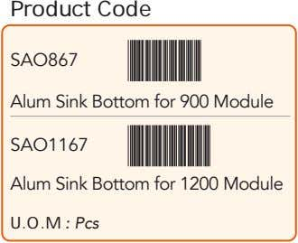 Product Code SAO867 Alum Sink Bottom for 900 Module SAO1167 Alum Sink Bottom for 1200