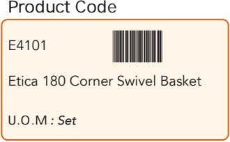 Product Code E4101 Etica 180 Corner Swivel Basket U.O.M : Set