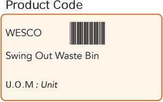 Product Code WESCO Swing Out Waste Bin U.O.M : Unit