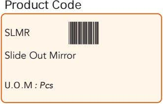Product Code SLMR Slide Out Mirror U.O.M : Pcs