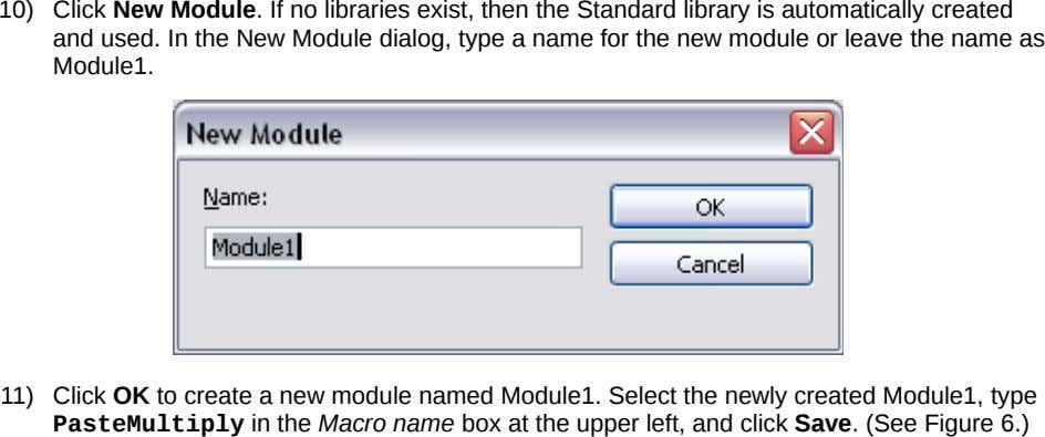 10) Click New Module. If no libraries exist, then the Standard library is automatically created