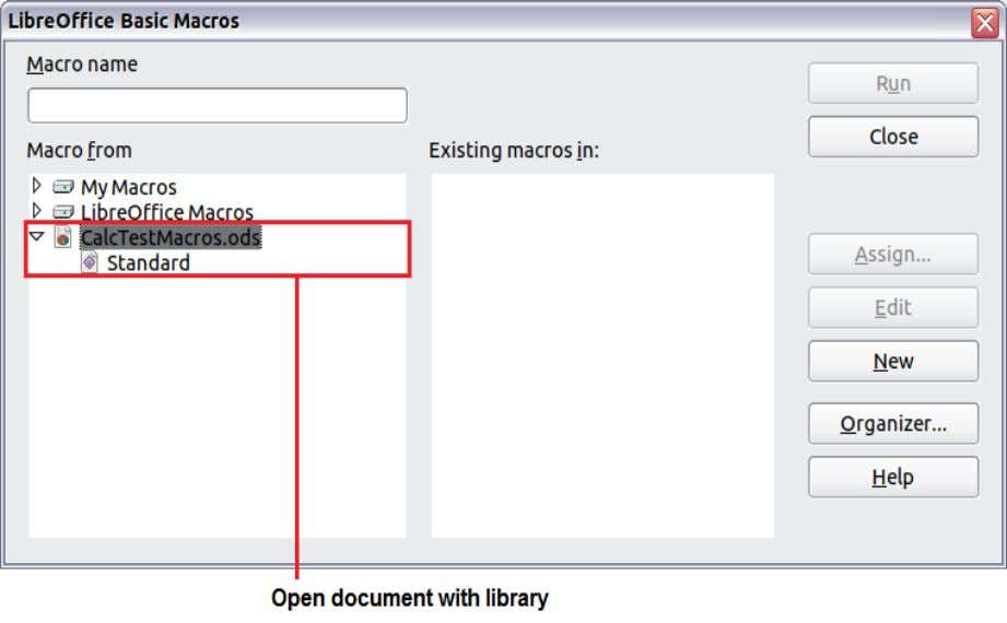 macros included with LibreOffice and should not be changed. Figure 7: LibreOffice Basic Macros dialog 3)
