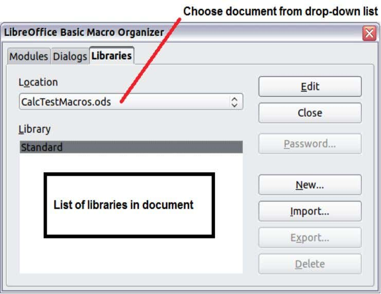 Figure 8: LibreOffice Basic Macro Organizer 4) Click New to open the New Library dialog.