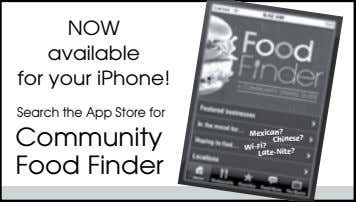 NOW available for your iPhone! Search the App Store for Community Food Finder Mexican? Chinese?
