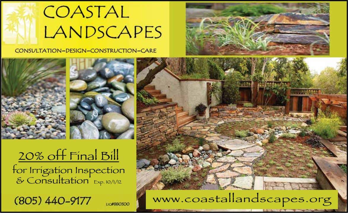 20% off Final Bill for Irrigation Inspection & Consultation Exp. 10/1/12 www.coastallandscapes.org