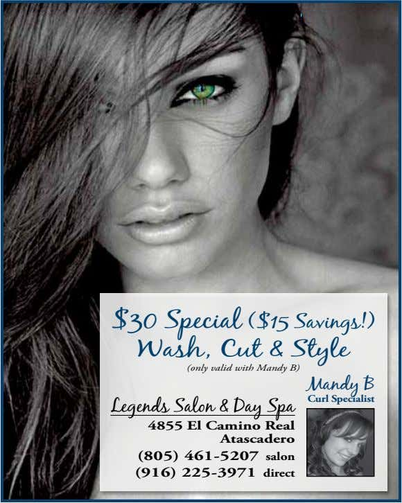 $30 Special ($15 Savings!) Wash, Cut & Style (only valid with Mandy B) Mandy B