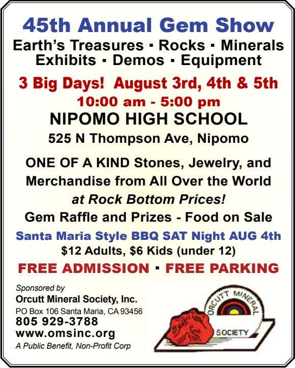 45th Annual gem Show Earth's Treasures . Rocks . Minerals Exhibits . Demos . Equipment