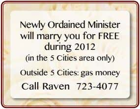 Newly Ordained Minister will marry you for FREE during 2012 (in the 5 Cities area