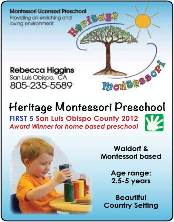 Heritage Montessori Preschool FirSt 5 San Luis Obispo County 2012 Award Winner for home based