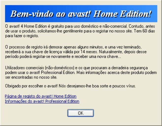 antivirus Home Edition 4 .8 – Manual de Utilizador O avast! antivírus Home Edition é gratuito