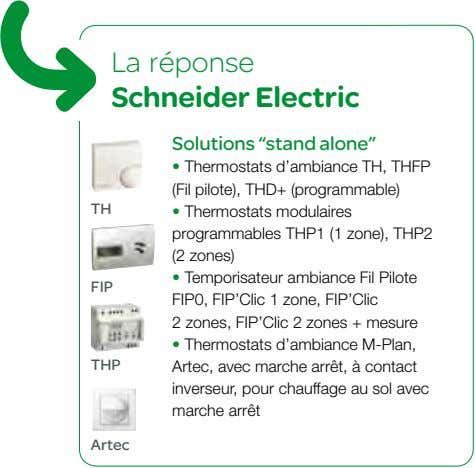 "La réponse Schneider Electric Solutions ""stand alone"" • Thermostats d'ambiance TH, THFP (Fil pilote), THD+"