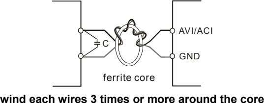 AVI/ACI C GND ferrite core wind each wires 3 times or more around the core