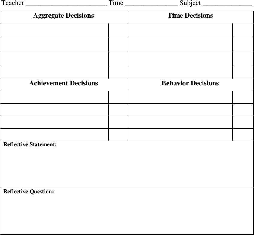 Teacher Time Subject Aggregate Decisions Time Decisions Achievement Decisions Behavior Decisions Reflective