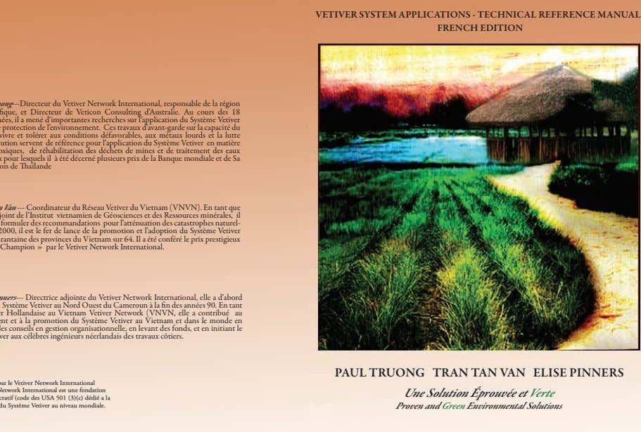 VETIVER SYSTEM APPLICATIONS - TECHNICAL REFERENCE MANUAL FRENCH EDITION PAUL TRUONG TRAN TAN VAN ELISE